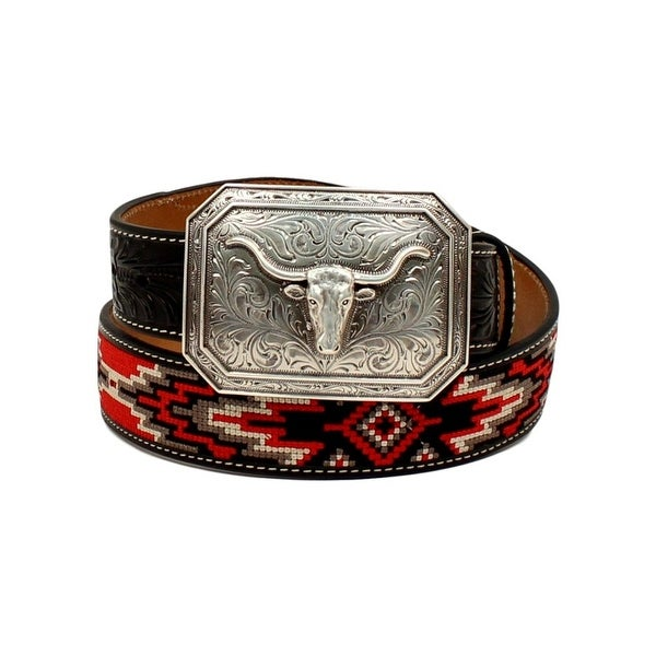 Ariat Western Belt Mens Starburst Longhorn Fabric Black Red