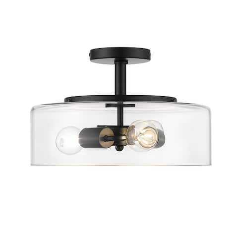 OVE Decors Bruce 3-Light LED Ceiling Light Black Finish Bulbs Incl.