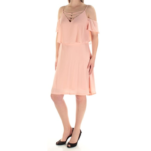 JESSICA SIMPSON Womens Pink Ruffled Cut Out Short Sleeve V Neck Above The Knee Cocktail Dress Size: 10