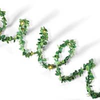Set of 2 Tropical Green Christmas LED Garlands with Timer 10'