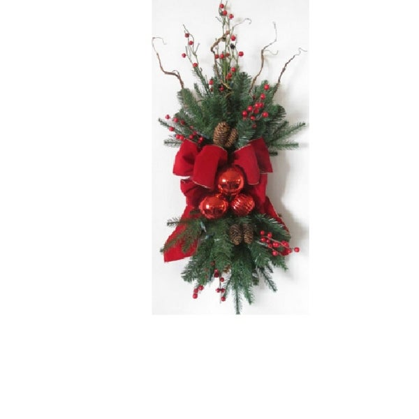 """34"""" Pre-Decorated Red Ribbon, Ornaments and Berries Artificial Christmas Stair Swag- Unlit"""