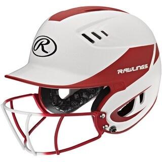Rawlings Velo Junior 2-Tone Home Softball Helmet w/Mask-Red - R16H2FGJ-W/MS