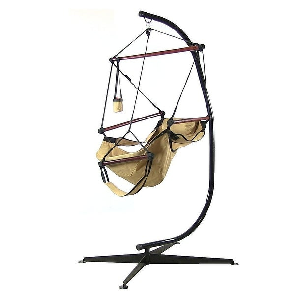 Sunnydaze Hanging Hammock Chair with Pillow, Drink Holder and C-Stand Set - Tan - Hammock Chair & Stand