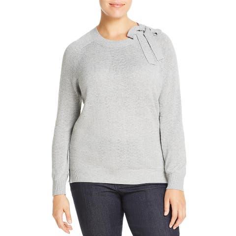 525 America Womens Plus Sweater Cotton Crewneck - Heather Grey Melange - 3X