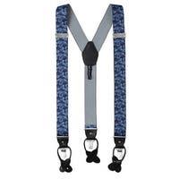 Jacob Alexander Men's Paisley Y-Back Suspenders Braces Convertible Leather Ends Clips - Navy