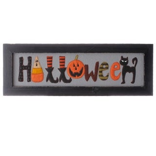 """19"""" Distressed Finish Black Framed """"Halloween"""" Characters Wall Art Decoration"""