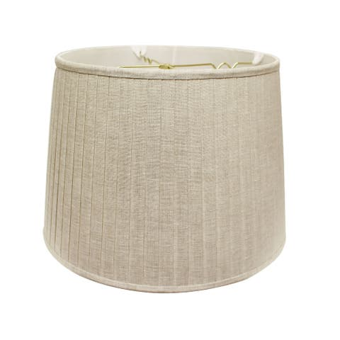 Cloth & Wire Slant Modified Empire Linen Side Pleat Softback Lampshade with Washer Fitter, Oatmeal