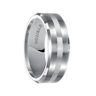 GIFFORD Beveled Edge Satin Finish Tungsten Carbide Wedding Band with Silver Inlay by Triton Rings - 8 mm