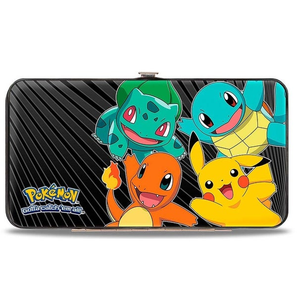 Kanto Starter Pokmon & Pikachu Pokmon Logo Rays Black Gray Hinged Wallet - One Size Fits most