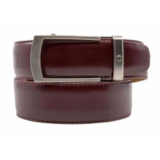 Nexbelt Portofino Brown Leather w/Satin Nickel Buckle Premium Ratchet Dress Belt