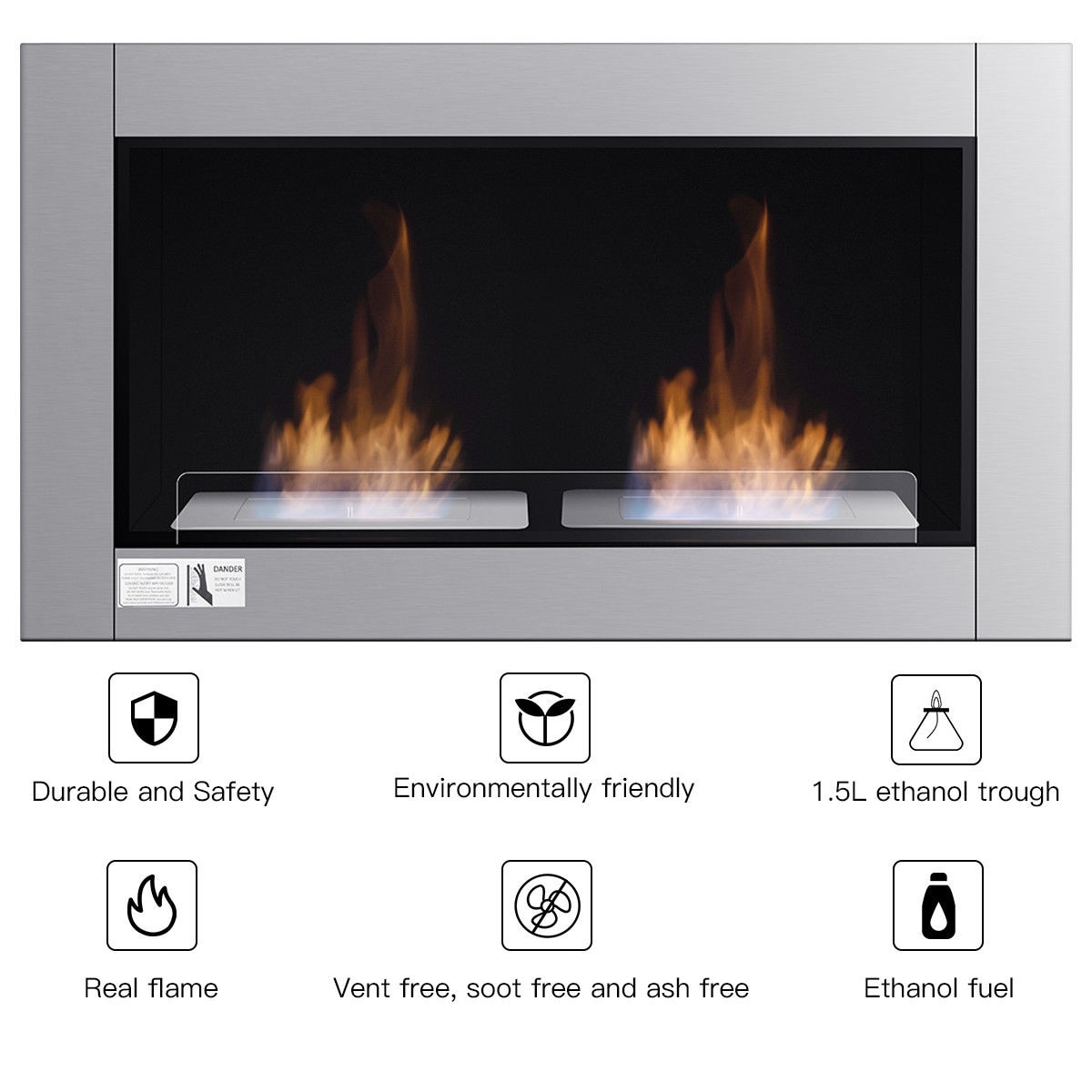 Fabulous Gymax 38 Inch Wall Mounted Bio Ethanol Fireplace Ventless Dual Burner Fireplace Download Free Architecture Designs Scobabritishbridgeorg