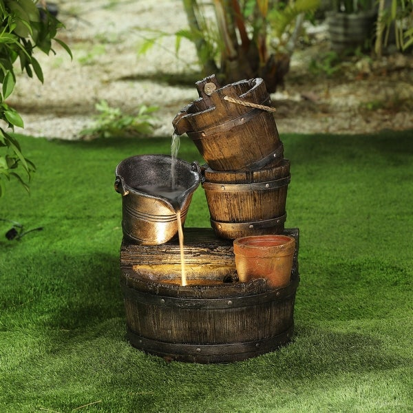 3-tier Whiskey Barrels Patio Fountain with LED Lights by Havenside Home. Opens flyout.