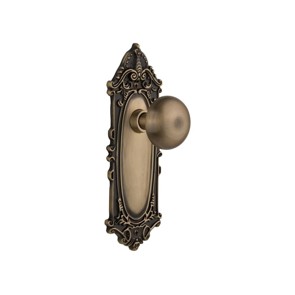 Nostalgic Warehouse VICNYK_SD_NK  New York Solid Brass Single Dummy Knob with Victorian Rose (Polished Brass)