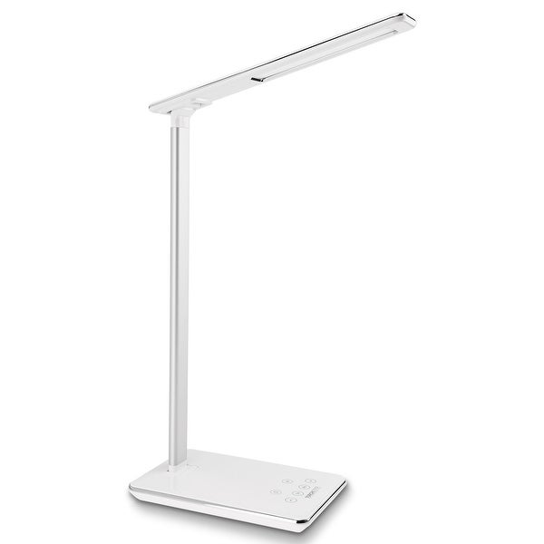 Dimmable LED Desk Lamp, 4 Lighting Modes, USB Charging Port, Piano White Finish