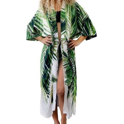 1a75318003 Women's Beach Cover up Swimsuit Kimono Cardigan with Bohemian Floral Print