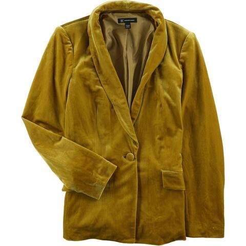 I-N-C Womens Velvet One Button Blazer Jacket, yellow, Medium