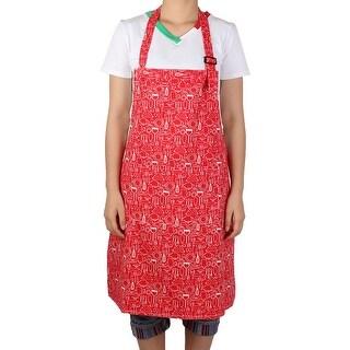 Lady Adjustable Shoulder Strap Kitchenware Cooking Housework Apron Red w Pocket