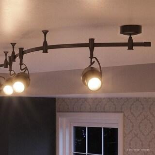 "Luxury Modern LED Track Lighting, 12""H x 4.7""W, with Cinema Style, Swiveling Heads, Estate Bronze Finish"