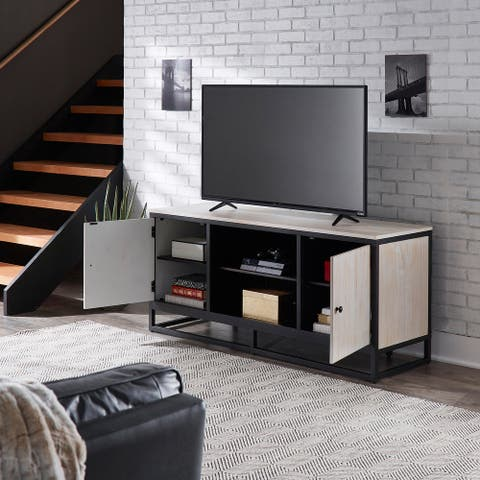 Micah Distressed Finish Black Metal 58-inch TV Stand by iNSPIRE Q Modern