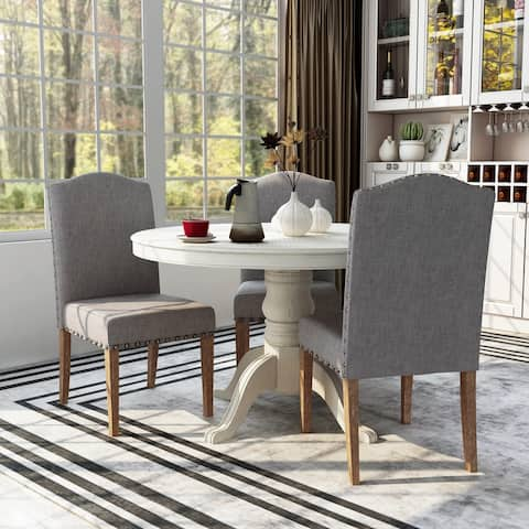 Furniture of America Yoss Rustic Brown Fabric Dinning Chairs (Set of 2)