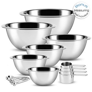 Link to SleekDine Premium Stainless Steel Mixing Bowl, Measuring Cup and Spoon Set Similar Items in Mixing Bowls & Colanders