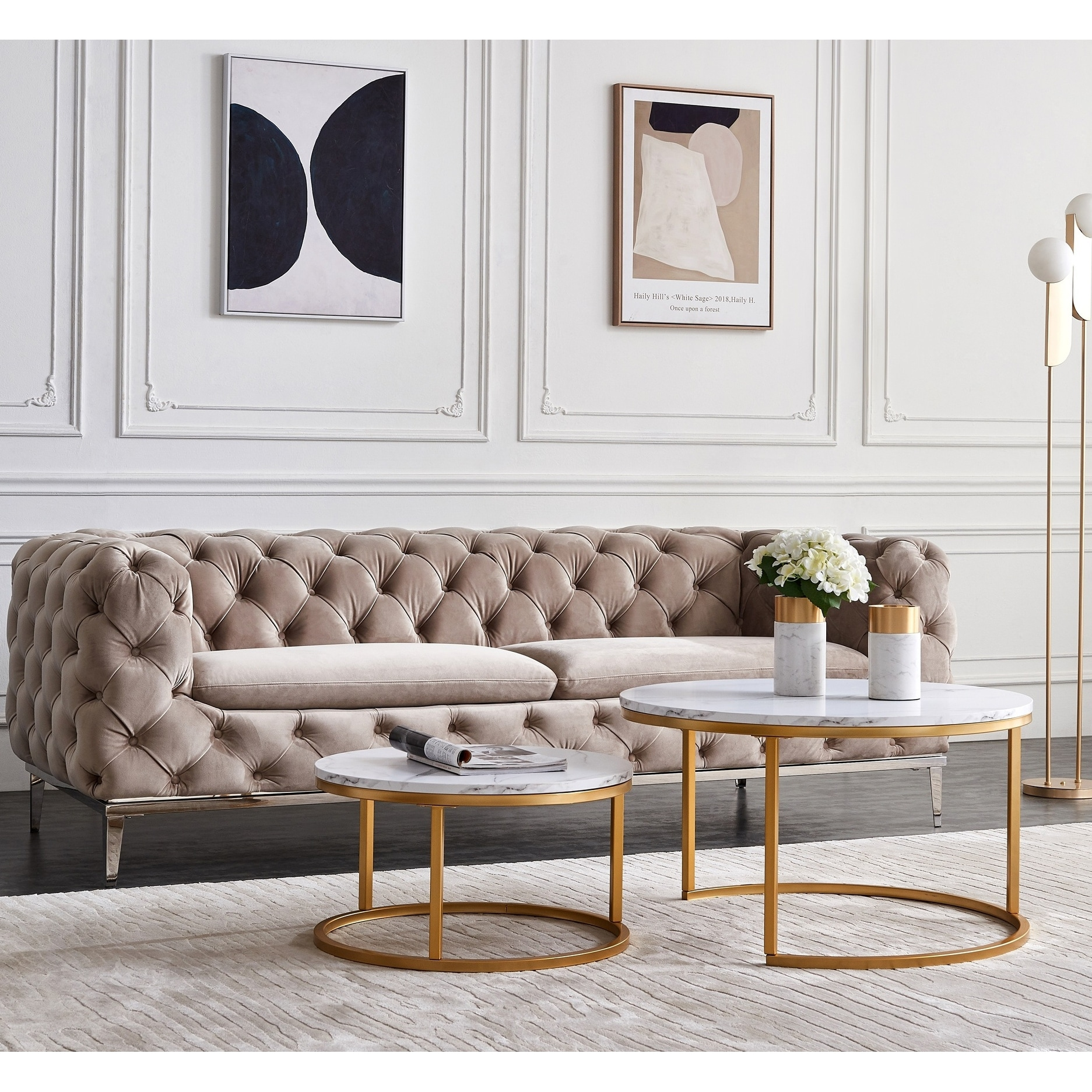 Industrial Nesting-Tables Living Room Coffee Table Sets Of 2, Wood & Metal Legs, Overlapping Ending Tables - Overstock - 31524560 - White+Gold - Wood/Laminate