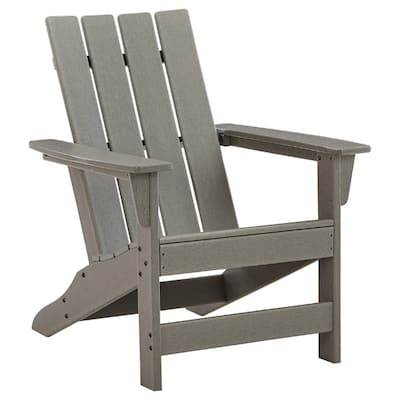 Adirondack Chair with Plastic Frame and Slatted Design, Gray