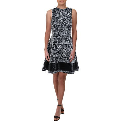 Necessary Objects Womens Party Dress Faux Leather Trim Printed - Multi - L