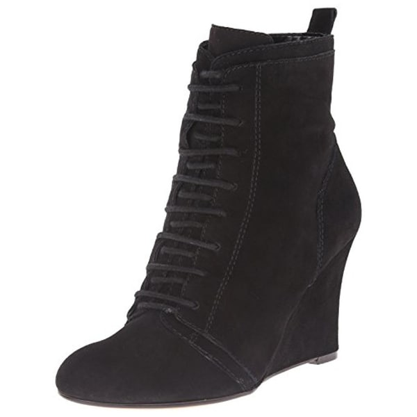 Nine West Womens NWOkeya Wedge Boots Suede Lace-UP