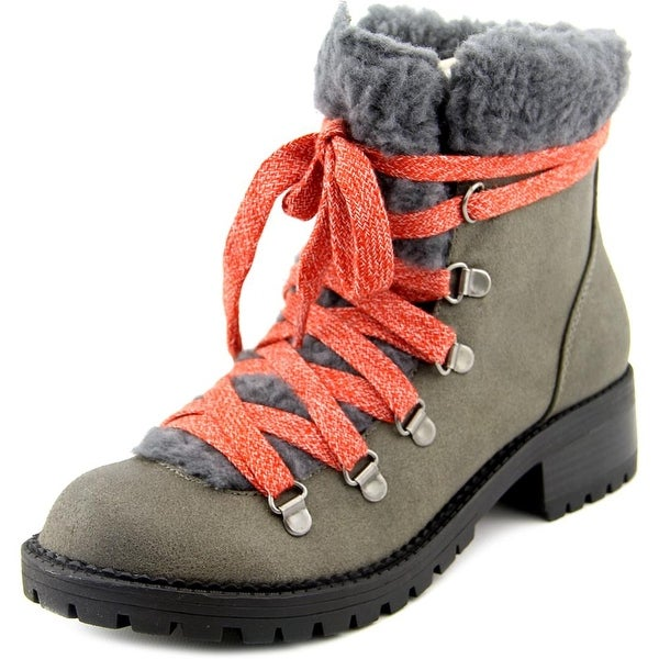 Madden Girl Bunt Women Round Toe Synthetic Gray Boot