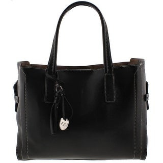 London Fog Womens Tote Handbag Leather Contrast Stitch - Large