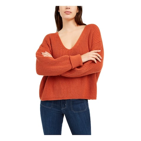 FRENCH CONNECTION Womens Orange Solid Long Sleeve Sweater Size XS