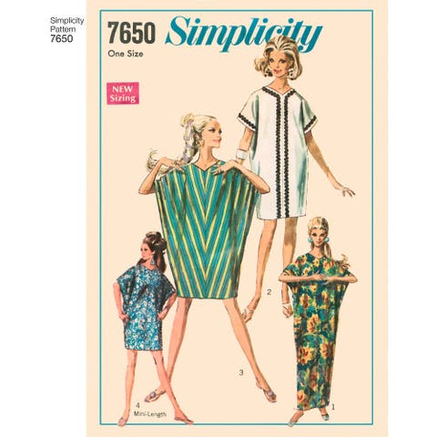 Simplicity Misses' Authentic 1960S Kite Dress-One Size - White
