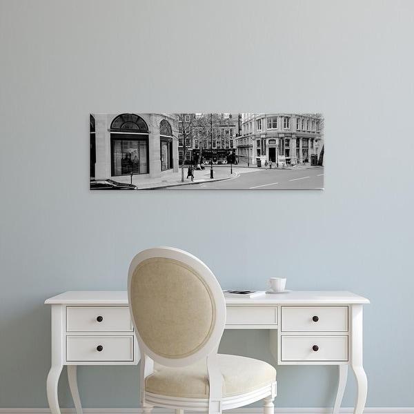 Easy Art Prints Panoramic Images's 'Buildings along a road, London, England' Premium Canvas Art