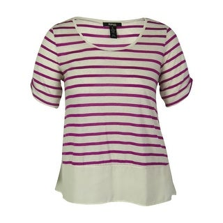 Style & Co. Women's Striped Ruched Sleeves Top