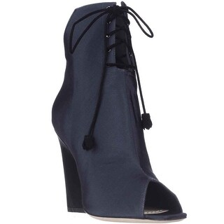 Dior Brooklyn Lace-Up Peep-Toe Ankle Booties - Marine/Noir