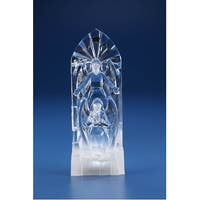 Pack of 2 Clear and Frosted White Gothic Style Angel Decorations - LED lights 10.25""