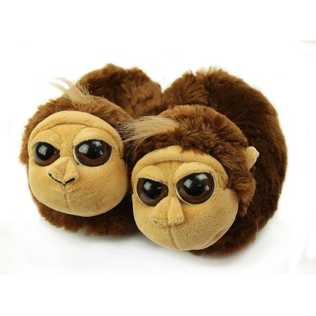 Fuzzy Monkey Slippers, Youth Medium
