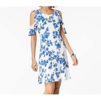 Nine West Blue Women's Size 14 Ruffled Cold-Shoulder Sheath Dress