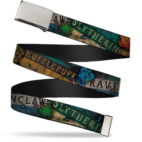Blank Chrome Bo Buckle Hogwarts House Banners & Logos Webbing Web Belt
