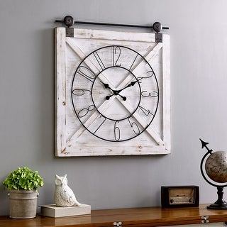 FirsTime & Co.® Farmhouse Barn Door Wall Clock, American Crafted, Weathered White, Fir Wood, 27 x 2 x 29 in