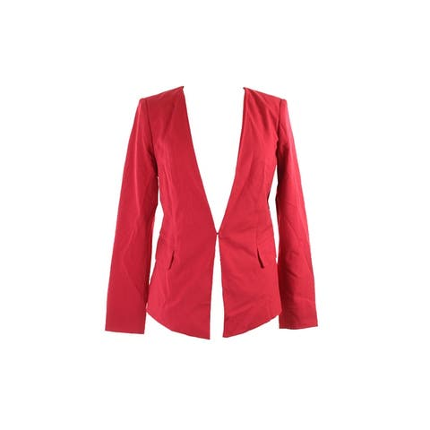 Laundry By Shelli Segal Red Topstitch Collarless Jacket - 14