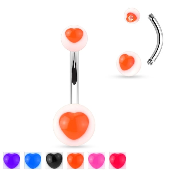 Colored UV Heart Center Acrylic Balls Surgical Steel Belly Button Navel Ring - 14GA (Sold Ind.)
