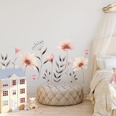 Walplus Delicate Watercolour Flowers Floral Wall Sticker Nursery Decor