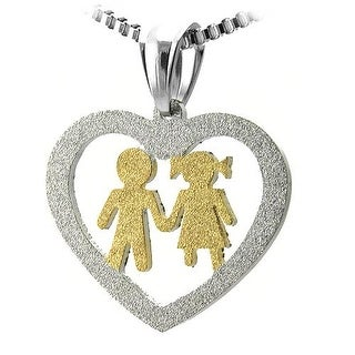 Stainless Steel Cut Out Heart Pendant Gold Boy and Girl Holding Hands