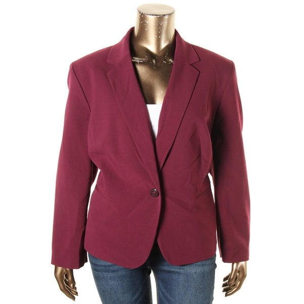 030f241b71a Shop Nine West Womens Plus One-Button Blazer Crepe Stretch - Free Shipping  Today - Overstock.com - 19822250