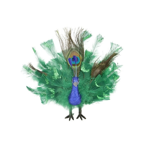 """10"""" Colorful Green Regal Peacock Bird with Open Tail Feathers Christmas Decoration - BLue"""