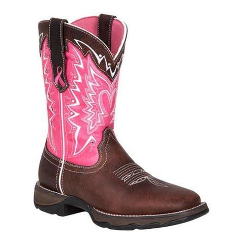 """Durango Boot Women's 10"""" Pink Ribbon Lady Rebel Dark Brown/Pink"""