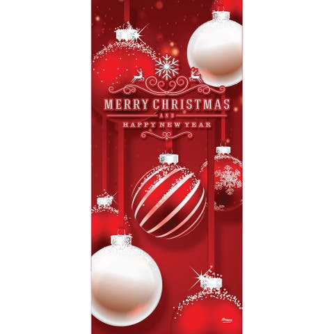"""80"""" x 36"""" Red and White Ornaments Christmas Front Door Banner Mural Sign Decoration"""