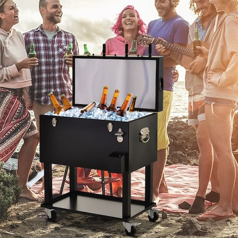 Outsunny 65L Patio Cooler Ice Chest with Foosball Table Top, Portable Poolside Party Bar Cold Drink Rolling Cart on Wheels